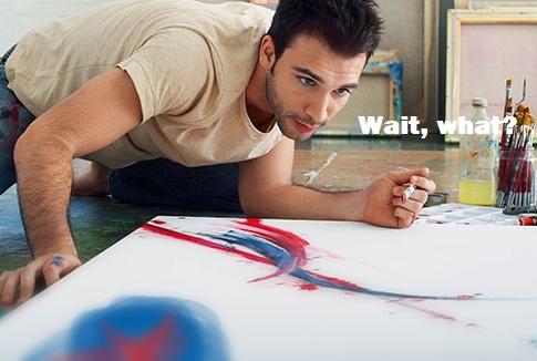 Artist painting on canvas on studio floor. Image shot 2006. Exact date unknown.